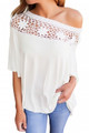 Crochet Neckline Top White (2-13)