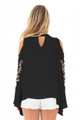 Embroidered Crisscross Bell Sleeve Blouse Black (2-15)