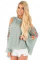 Embroidered Crisscross Bell Sleeve Blouse Dusty Mint (2-16)