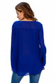 V-Neck Button Detail Dip Back Blouse Top Royal Blue (2-53)