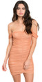Sexy Sheer Off Shoulder Ruched Front Apricot Dress (7-4)