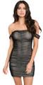 Sexy Sheer Off Shoulder Ruched Front Little Black Dress (7-5)