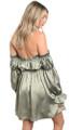 Satin Ruffle Edge Off Shoulder Elegant Skater Sage Dress (11-4)