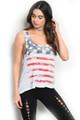 "Cute Sleeveless ""American Flag""  Tank Top  (11-43)"