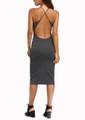 Crisscross Sleeveless & Backless Sheath Gray Dress (12-1)