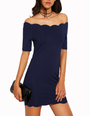 Scallop Bardot Neckline & Hem Navy Dress (12-6)