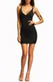 Sexy V Neckline Crisscross Back Black Dress (12-10)