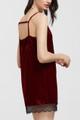 Sexy, Black Lace Strappy Velvet Burgundy Dress (12-14)