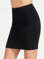 Mini Black Bodycon Elastic Waist Skirt (12-16)