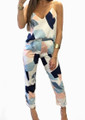 Two-Pc Geometric V-Neck Top-Pant Set (13-8)