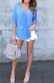 Chiffon Sheer Loose Sky Blue Blouse (13-15)