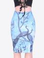 Adorable Peacock Printed Pencil Blue Skirt (13-20)
