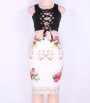 Adorable Floral Printed White Pencil Skirt (13-21)