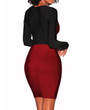 Fitted Color Block Red & Black Dress (13-37)