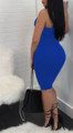 Sexy Bandeau Fitted Blue Dress Rivet Accents (13-43)