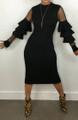 Edgy Black Sheer Cascading Ruffles Dress (13-53)