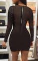 Long Sleeve Black Mesh Rhinestone Dress (13-71)