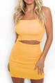 Bandeau Elastic Tube Top & Skirt Yellow Set (13-93)