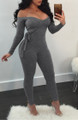 Sexy Off Shoulder Gray Jumpsuit (13-107)