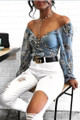 Cute Deep V Neck Floral Denim Blue Tie Shirt  (13-116)