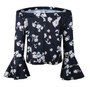 Black Chiffon Off Shoulder Floral Print Bell Sleeves Shirt (13-117)