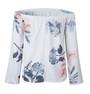 Soft! Off Shoulder Floral Bell Sleeves White Top (13-118)