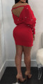 Sexy Pearl Embellishment Off Shoulder Red Dress (13-128)