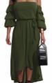 Off Shoulder Flounce Sleeves Maxi Moss Green Dress (13-140)