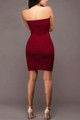 Sexy Strapless Lace Up Burgundy Rose Dress (13-150)