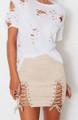 Cute Beige Crisscross Lace Up Front Skirt (13-161)