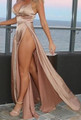 Sexy Satin Slit Light Champagne Dress  (13-189)
