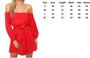 Long Sleeve Off Shoulder Mini Red Dress (13-192)