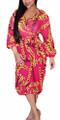 Sheer Chiffon V Neck Chain Print Magenta Dress (13-194)