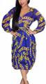 Sheer Chiffon V Neck Chain Print Blue Dress  (13-195)