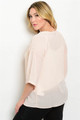 Plus Size Embroideered Woven Light Peach Top (27-1)