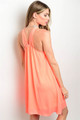 Halter Loose Fitting Neon Coral Dress (27-12)