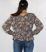 Black Floral Long Sleeve Peplum Top (29-1)