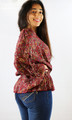 Red Paisley-Floral Long Sleeve Peplum Top (29-5)
