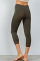 Olive Sport Yoga Capri Pants w/Lace Trim (30-5)