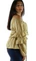 100% Cotton Off Shoulder Lightweight Tan Top (32-1)