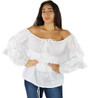 100% Cotton Off Shoulder Lightweight White Top (32-3)