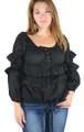 100% Cotton Off Shoulder Lightweight Black Top (32-4)