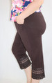 Plus Size Cotton Chocolate Capri W/Lace Design (32-17)