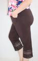 Plus Size Cotton Chocolate Capri W/Lace Design (32-17)