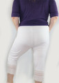 Cotton White Capri W/Lace Design Sm-Plus Size (32-19)