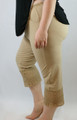 Cotton Beige Capri W/Lace Design Sm-Plus Size (32-20)