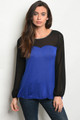 100% Rayon Soft & Comfy Black/Royal Blue Top (36-2)
