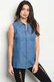 Sleeveless Denim Button Top w/Studded Collar (36-5)