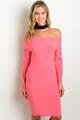 Classic Sexy Elegant Rose Pink Bell Sleeve Dress (36-7)