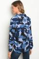 Color Me Blue Camouflage Button Blouse (36-13)